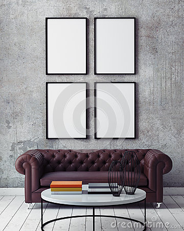 Free Mock Up Poster Frames In Hipster Interior Background, Stock Images - 59966934