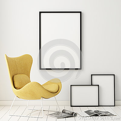 Free Mock Up Poster Frames In Hipster Interior Background, Royalty Free Stock Photos - 59966948
