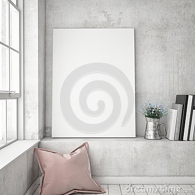 Free Mock Up Poster Frames In Hipster Interior Background, Stock Photography - 67016602