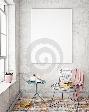 Free Mock Up Poster Frames In Hipster Interior Background Royalty Free Stock Image - 70306996