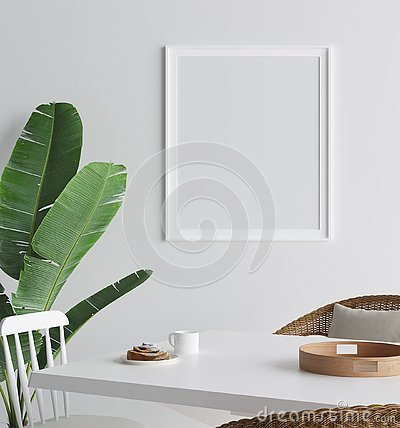 Free Mock Up Poster In Interior Background, Scandinavian Style Stock Photo - 129278050