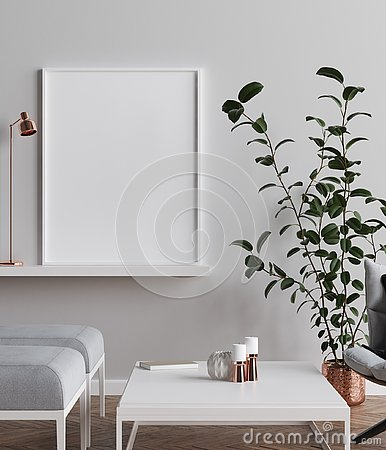 Free Mock-up Poster In Scandinavian Style Living Room Background Royalty Free Stock Images - 130256879