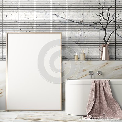 Free Mock Up Poster In The Bathroom In A Modern Style Stock Photo - 113325480