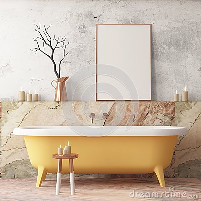 Free Mock Up Poster In The Bathroom In A Modern Style Stock Images - 113376794