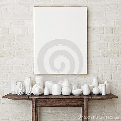 Free Mock Up Poster On Brick Wall Stock Photography - 64336662