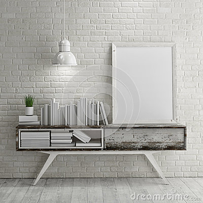 Free Mock Up Poster On Table In Room - 3D Illustration Royalty Free Stock Photography - 54128287
