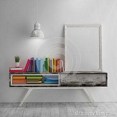 Free Mock Up Poster On Table In Room - 3D Illustration Stock Photo - 54128290