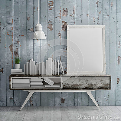 Free Mock Up Poster On Table In Room - 3D Illustration Stock Photos - 54128293