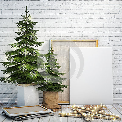 Free Mock Up Poster On The White Brick Wall With Christamas Decoration, Background Royalty Free Stock Photos - 47002908