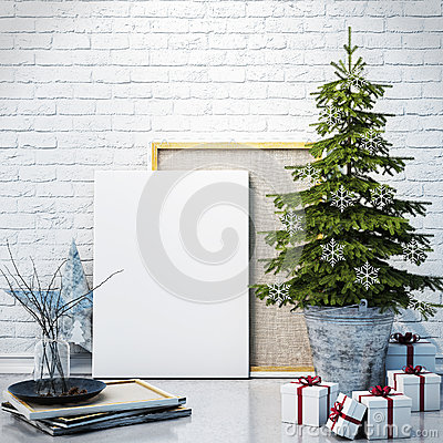 Free Mock Up Poster On The White Brick Wall With Christamas Decoration, Background Royalty Free Stock Images - 47002999