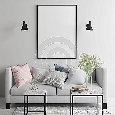 Mock up poster in Scandinavian living room, your art work here, Cartoon Illustration