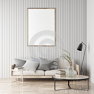 Free Mock Up Poster, Scandinavian Room, Your Artwork Here, On Royalty Free Stock Photography - 111807847
