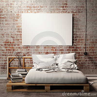 Free Mock Up Poster With Vintage Hipster Loft Interior Background, 3D Render Stock Photos - 47002793