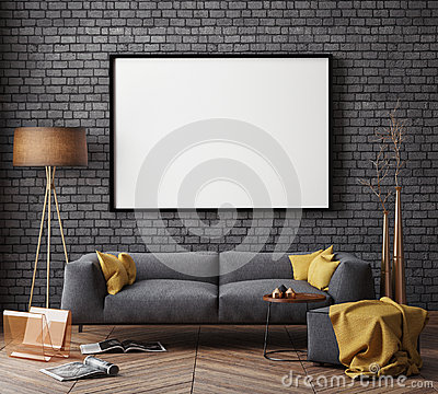 Free Mock Up Poster With Vintage Hipster Loft Interior Background, Royalty Free Stock Photography - 62653497