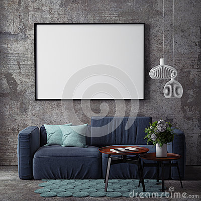 Free Mock Up Poster With Vintage Hipster Loft Interior Background, Royalty Free Stock Photo - 70307295