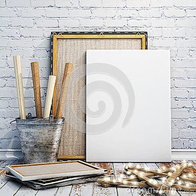 Free Mock Up Poster, Wooden Floor And Brick Wintge Wall Background Stock Image - 47002901