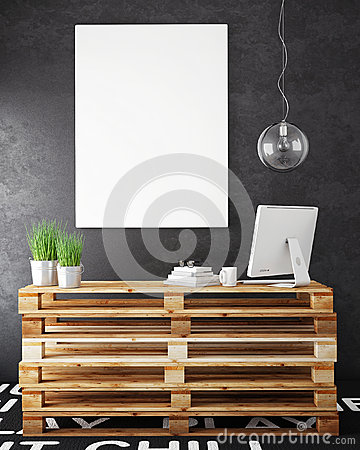 Free Mock Up Posters Frames And Hipster Loft Interior Background Royalty Free Stock Photo - 62311865