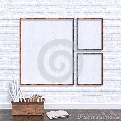 Free Mock Up Posters Frames In Art Atelier With Wooden Bow Full Of Old Books, 3D Stock Photography - 74158052