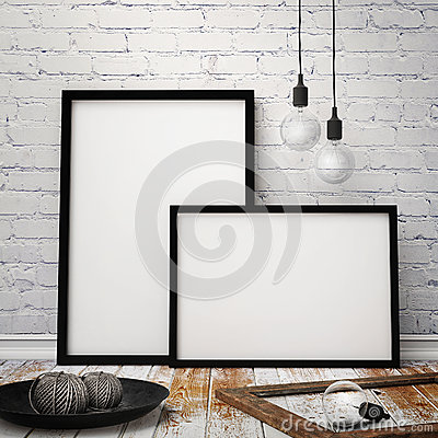 Free Mock Up Posters Frames With Vintage Hipster Loft Background, 3D Render Royalty Free Stock Image - 47002776