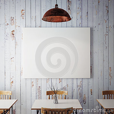 Free Mock Up Posters With Retro Hipster Cafe Restaurant Interior Background, 3D Render Stock Images - 64047804