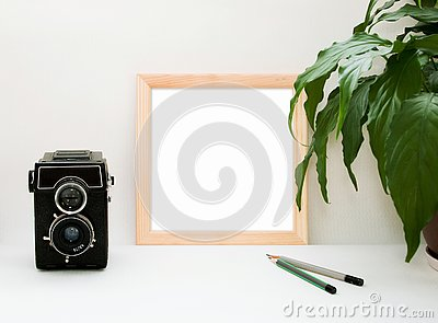 Mock up wooden frame, old camera, plant and pencils. Interior home square poster mockup with wood frame and green leaves on white Stock Photo