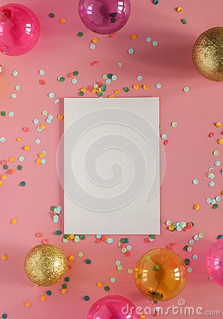 Free Mockup Card On A Pink Background With Their Christmas Decorations And Confetti. Invitation, Card, Paper. Place For Text Stock Photography - 103851562