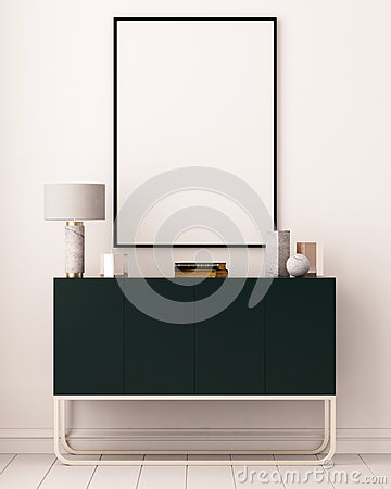 Free Mockup Posters In The Interior. Art Deco Style. 3d Rendering, 3d Illustration. Royalty Free Stock Images - 86146419