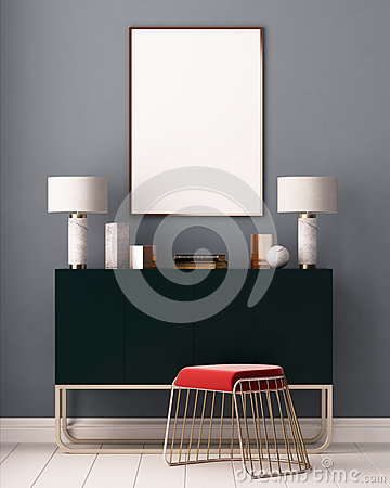 Free Mockup Posters In The Interior. Art Deco Style. 3d Rendering, 3d Illustration. Royalty Free Stock Images - 86146459