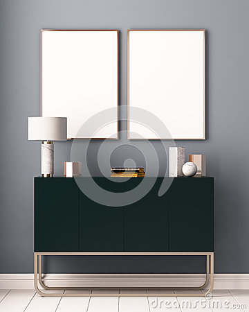 Free Mockup Posters In The Interior. Art Deco Style. 3d Rendering, 3d Illustration. Royalty Free Stock Images - 86146469