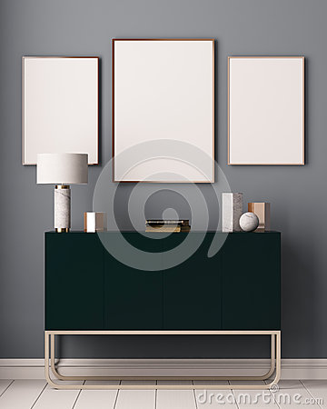 Free Mockup Posters In The Interior. Art Deco Style. 3d Rendering, 3d Illustration. Royalty Free Stock Images - 86146559