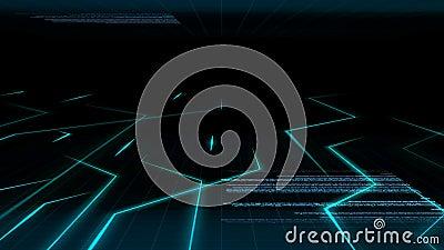 Modèle léger bleu abstrait sans couture de fond d'animation du courant de circuit électronique avec le fond de code informatique