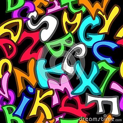 Mod le sans couture avec des lettres dans le style de graffiti illustration de vecteur image - Lettre graffiti modele ...