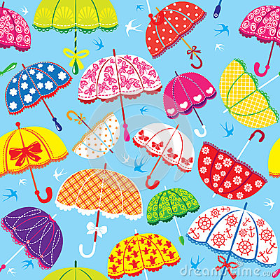 Modèle sans couture avec les parapluies colorés