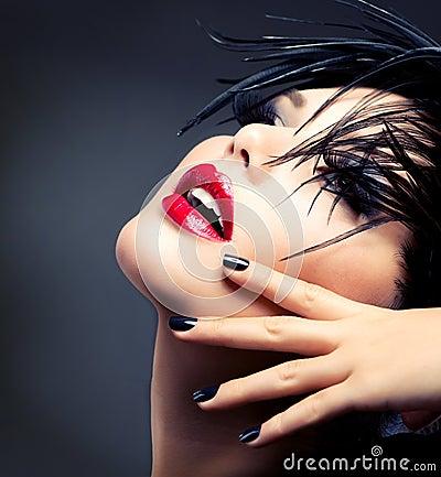 Mode kunst mädchen porträt klares make up