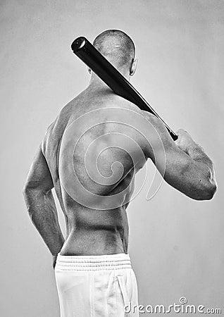 Model with a bat