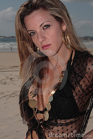 Model at the Beach