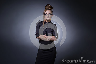 Model beautiful women in fashionable clothes and accessories sh Stock Photo