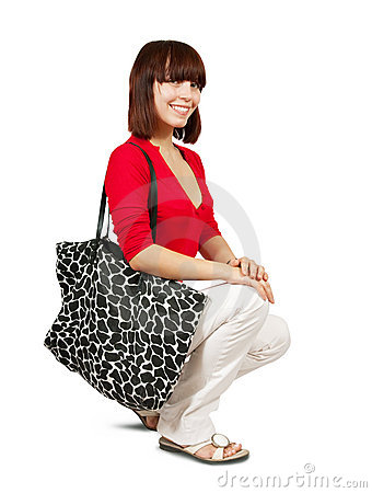 Model with big bag