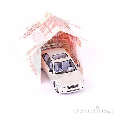 Model car in the house of banknotes