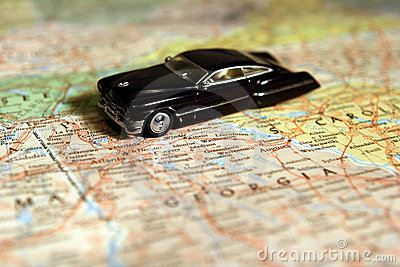 Model Car on Map
