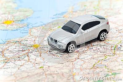 Model car on map of France