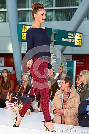 Model on Catwalk Editorial Photo