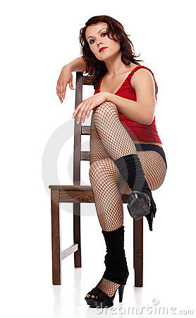 Model on chair