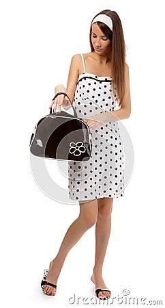 Model checks her bag