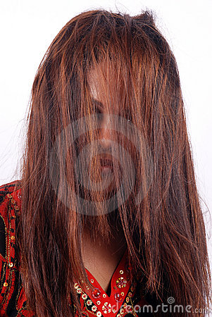 Model concealed by thick hair