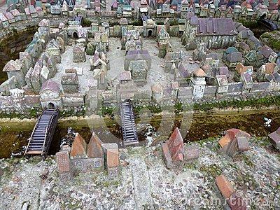 The model of district of Kneiphof medieval königsberg Editorial Stock Photo
