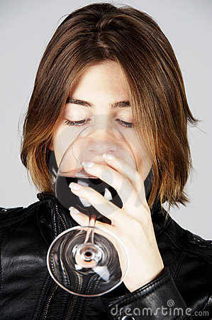 Model drinking red wine