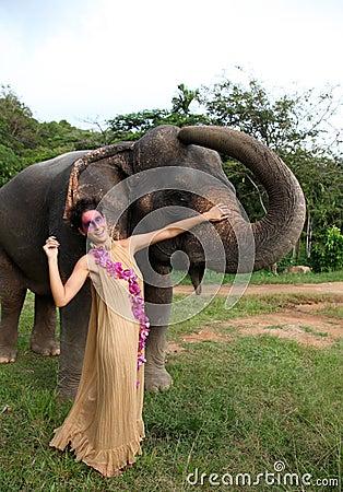 Model and elephant.