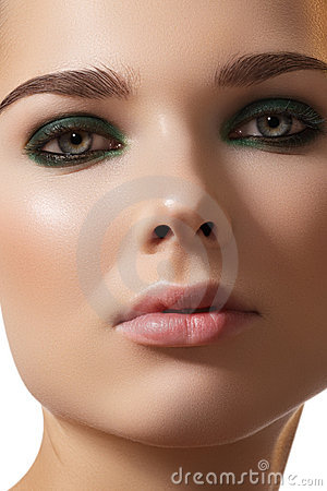 Model face, fashion smoky eye make-up & clean skin