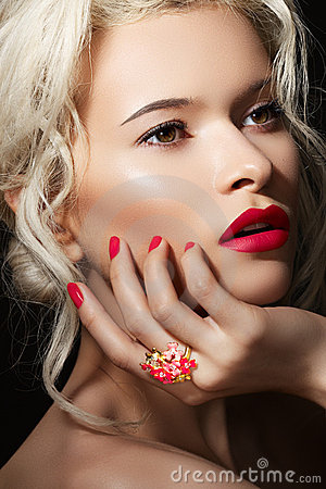 Model face, lips make-up, manicure & jewelry ring